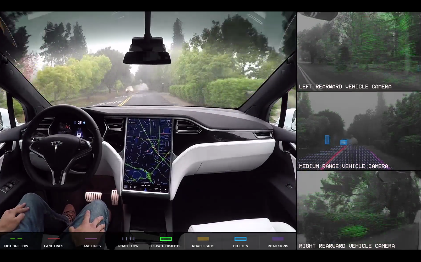 See what Tesla self-driving cars see on the road.
