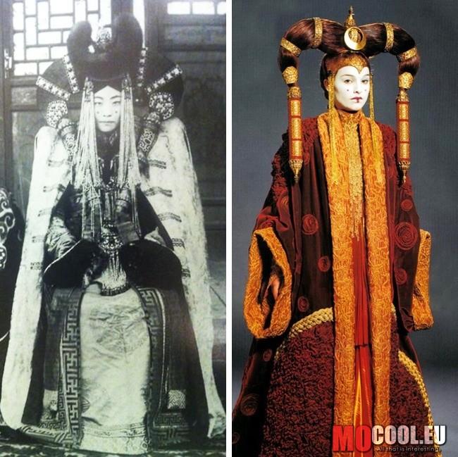 25a259b920 A mongol arisztokraták ruhái, amelyet a Csillagok háborúja film, Padmé  Amidala ruhájának prototípusaként tartanak számon.