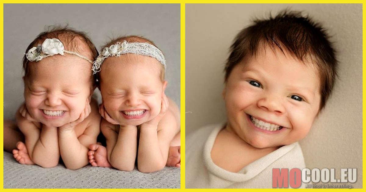 Egy kreatív fotós hollywoodi mosollyal ruházta fel az újszülött kisbabákat. A képek egyszerre ijesztőek és viccesek.
